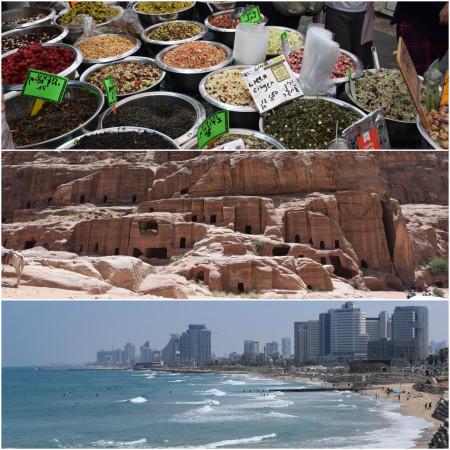1. Yehuda Market in Jerusalem; 2. ruins in Petra, Jordan; 3. a beach in Tel Aviv, Israel
