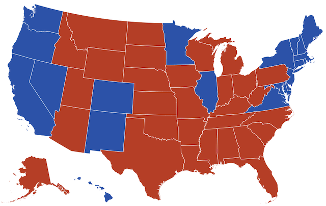 the US map showing the states which democrats (blue) and republicans (red) won in the 2016 US Election.
