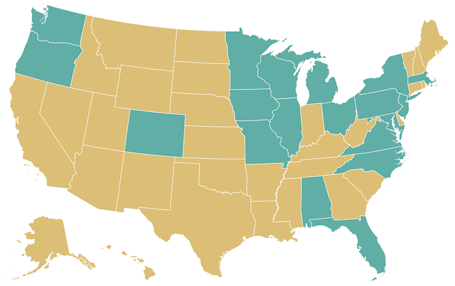 the US map highlighting the states in which candidate A has to get the minimum majority of the votes