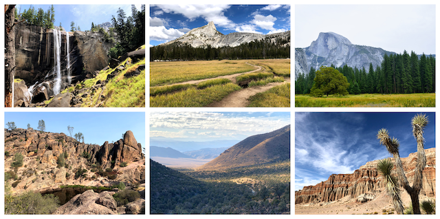 a collage of photos from different national parks in California