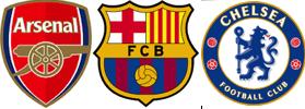 Logo of Arsenal, Barcelona and Chelsea
